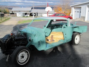 This 1953 Studebaker was a body and paint job only. The owner is reassembling the car himself with my help on the outer sheet met. The green and gray is a factory 2 toned combination. 1953 was the first year for this body style and this is the commander version with a V8 engine. It has an automatic transmission. The car was in sold condition when I started the restoration but did need to have some sheet metal work completedal.