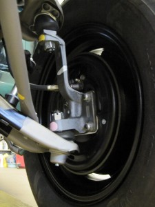 Details and paint markings that were reapplied to the left hand side of the front suspension.