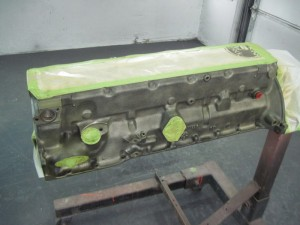 The engine block has been sprayed with self etching primer.