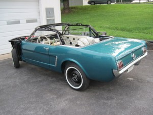 Our 1965 Ford Mustang is finally running and able to move under its own power.