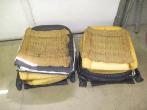 old seat covers and foam