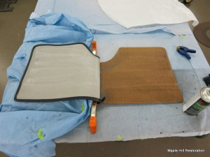 Gluing the carpet on the jack board