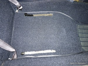 The front carpet has been cut exactly like the original was so that the seat tracts mount directly to the floor pan