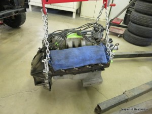 The engine is removed from the Shelby and ready to be put on the engine stand