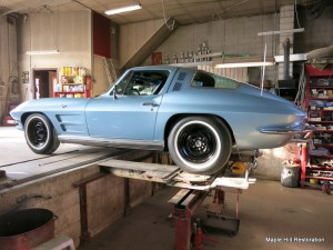 The 64 Corvette on the alignment rack doing the rear alignment