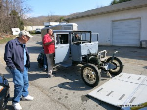 Unloading the Model A Ford at B Terry Vintage Automotive