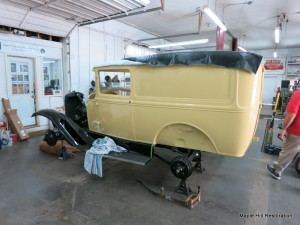 Model A panel truck being reassembled