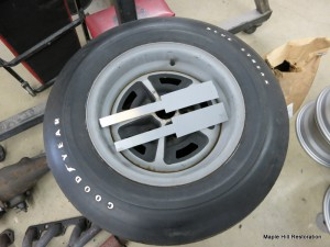 Restoring the wheels for the 1966 Shelby GT350. I matched the color and texture of the paint to this original wheel and tire