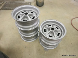 All 5 wheels have been glassbeaded to bare metal