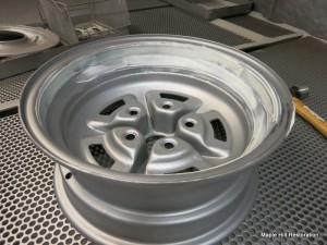 The backside of the wheels for the 1966 Shelby GT350 also needed some light body work for some minor rust pitting