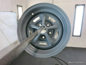The wheels have been sprayed with the correct gray color