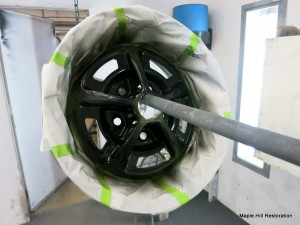 The black has been sprayed on the centers of the 1966 Shelby wheels