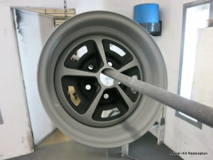 The wheels have been painted and sprayed with a flattened clear coat to protect the finish
