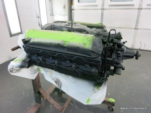 The Shelby engine has been sprayed with an epoxy primer