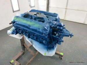 The 66 Shelby engine has been resprayed with the correct shade of Ford engine blue