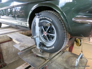 Wheel alignment in progress