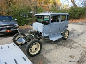 This Ford Model A was sent to Bristol Tenn, to B. Terry Auto Restorations to replace all the wood inside of the Model A body.  It is now back in Virginia at Maple Hill.