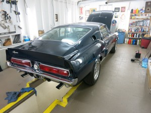 We have started work on this 1967 Shelby GT 500.  This is an all original car that was last inspected for road use in 1976.  The car has 47,000 actual miles and the owner sent it into the shop for mechanical safety and road worthy repairs. This car will be cleaned detailed.  Our goal is to keep this car as original as possible while making it mechanically sound and safe to drive.